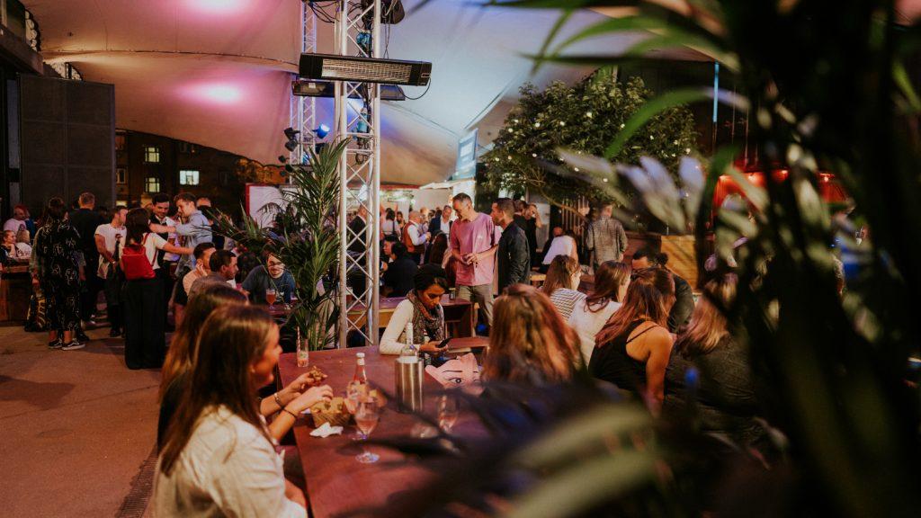 Backyard cinema food yard people eating and drinking